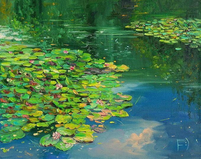 Aceite de textura pintura estanque con lirios de agua for Pintura para estanques