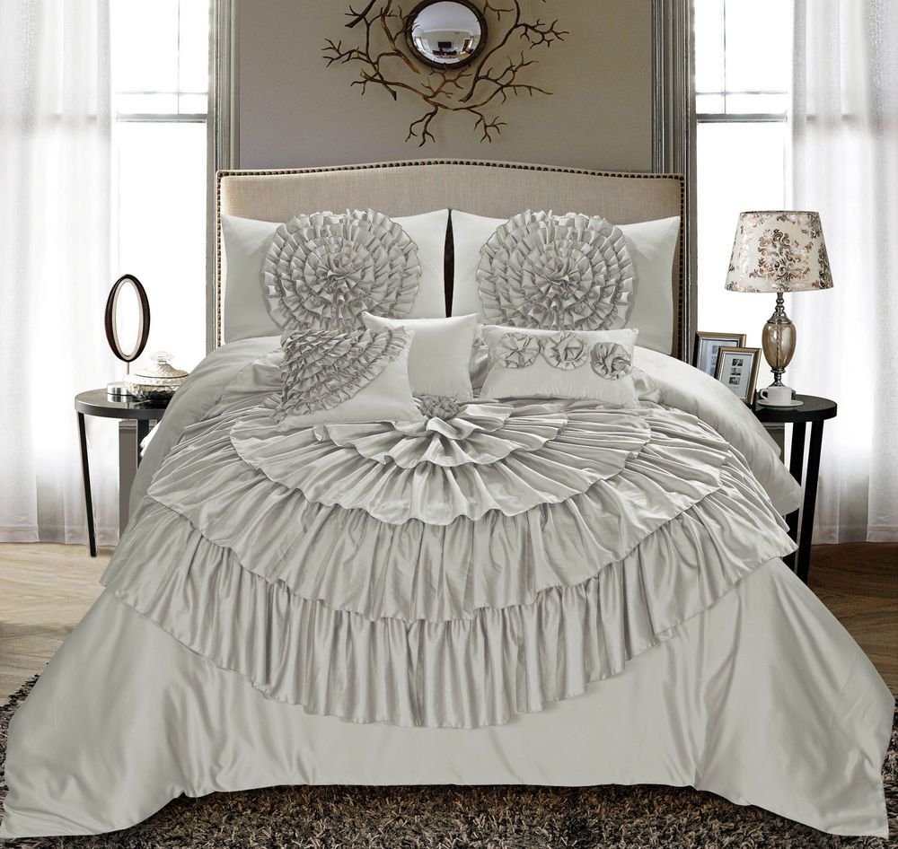 Modern Bedroom Comforters Homechoice 7 Pc Merisela Chic Ruched Ruffle Floral Bed Comforter
