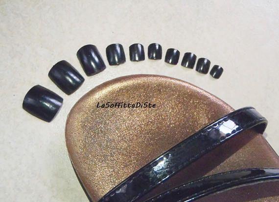 toe fake nails matte black false nails tips toenails feet foot
