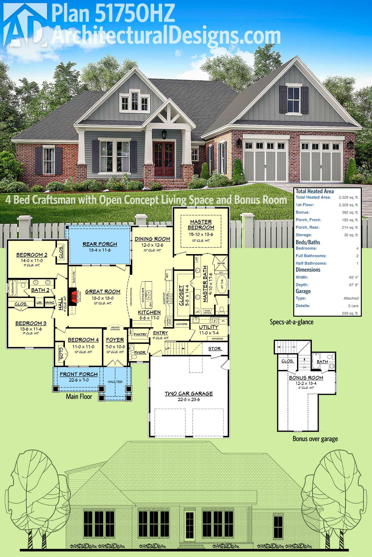 Plan 51750hz 4 bed craftsman with open concept living for Craftsman plans