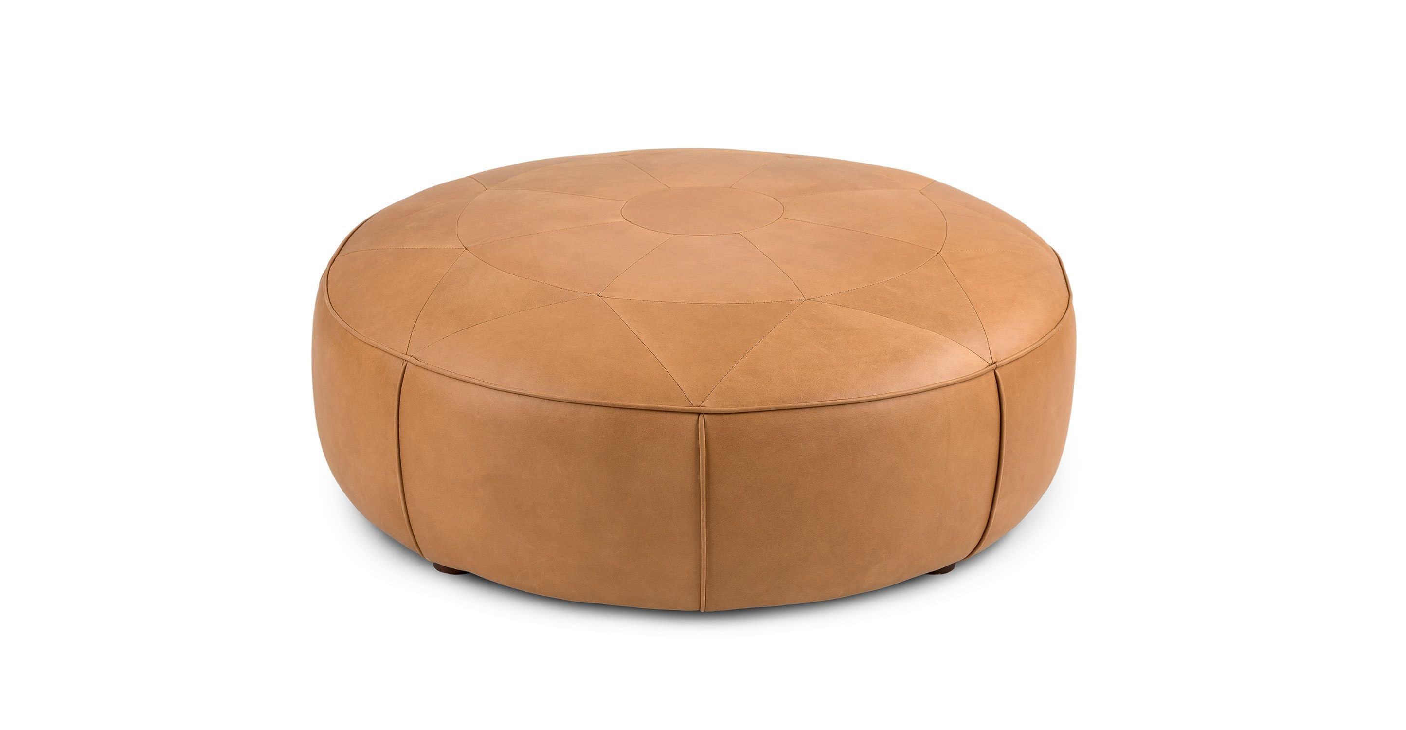 Admirable Tan Leather Tufted Ottoman Round Article Orbis Modern Caraccident5 Cool Chair Designs And Ideas Caraccident5Info