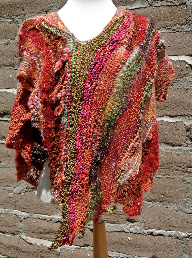 Early Fall asymmetric poncho | Freeform crochet, Knitting ...