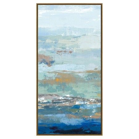 Framed Embellished Canvas Abstract 50x25