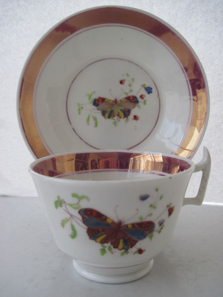 Antique pink luster lustre london handle tea cup saucer butterfly pattern