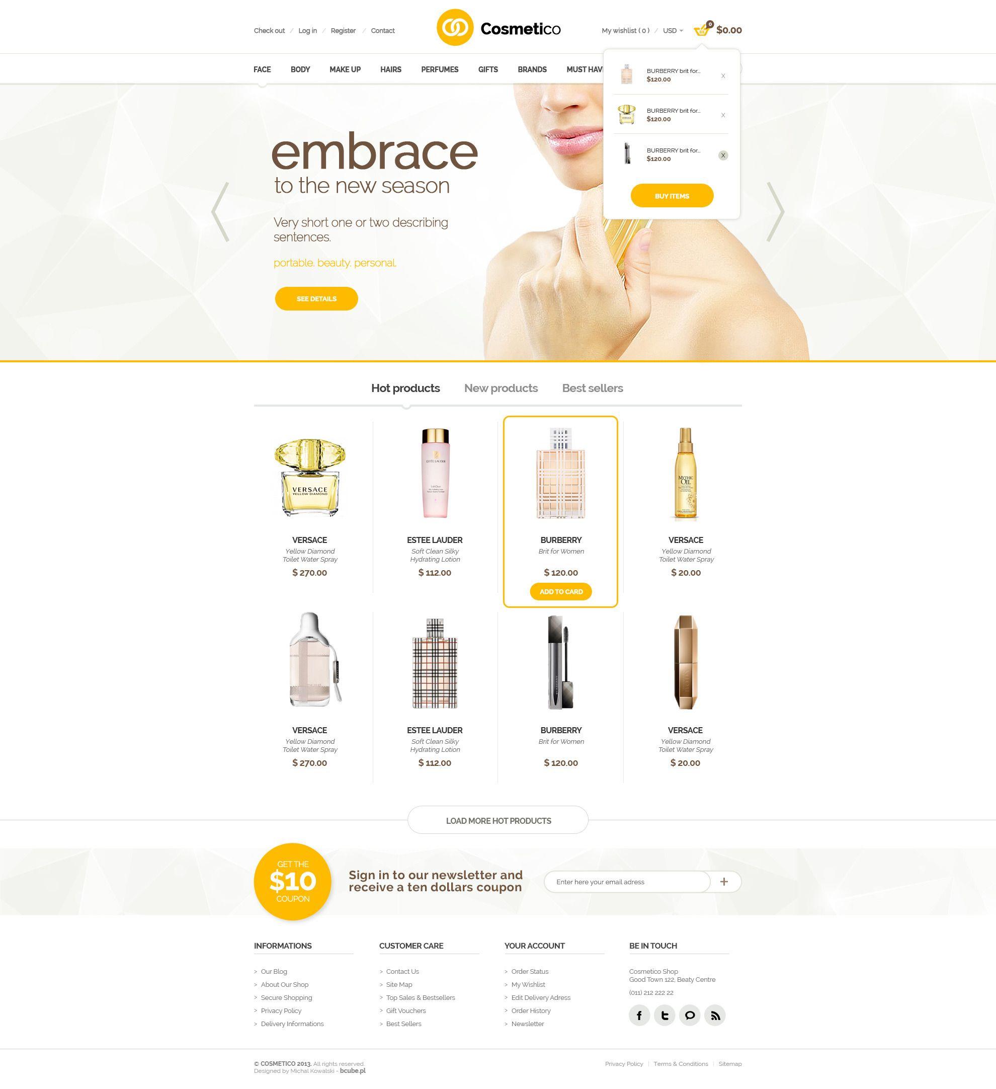 Cosmetico Beauty Shop PSD by bcubepl webdesign