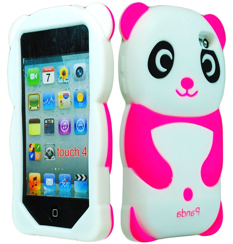 Cute Pink Panda 3D Animal Silicone Case Cover for iPod Touch 4th Generation 4G #Apple