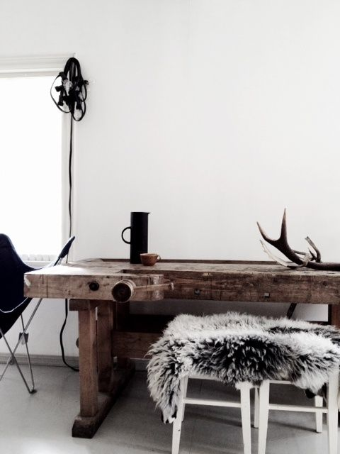 Nordic Interior, loving the wood table!