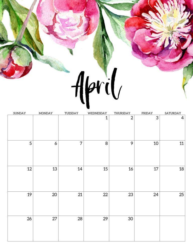 Floral April 2020 Calendar Free Printable Calendar Print Calendar Monthly Calendar Printable