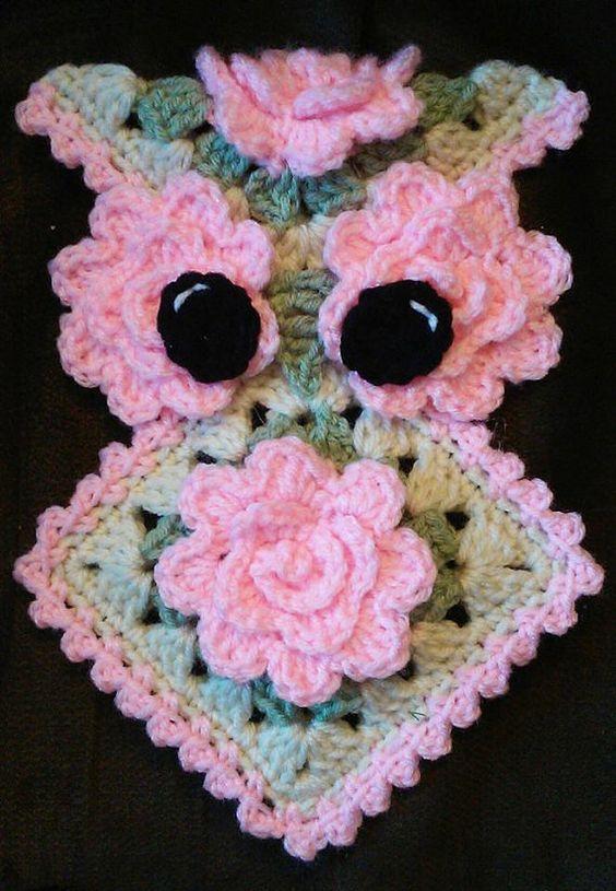 Crochet Rose Owl Potholder Pattern Only: | crochet lapos figurák ...