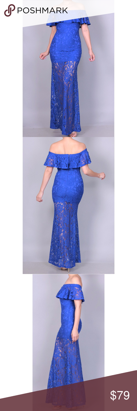 Royal blue lace dress styles  VICTORIA OFF SHOULDER BLUE LACE MAXI DRESS Boutique  My Posh Closet