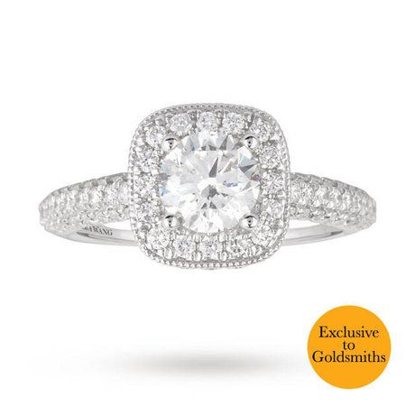 Vera Wang Love Brilliant Cut 2.00 Total Carat Weight Solitaire and Diamond  Set Shoulders Ring in