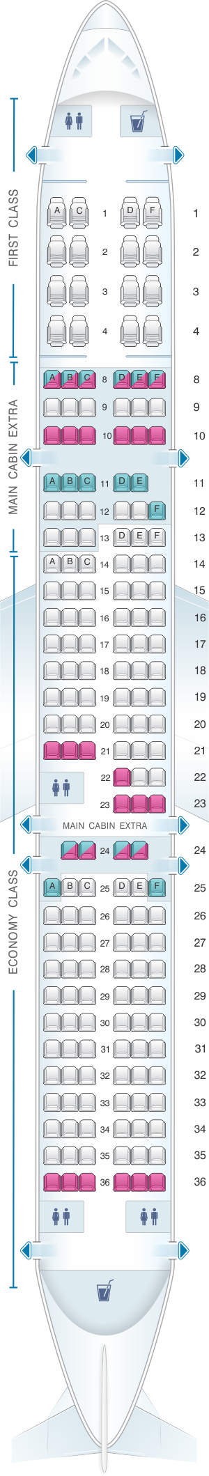 Seat Map American Airlines Airbus A321 181pax Vietnam