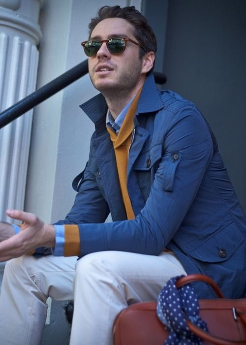 Blue jacket, orange sweater, light blue button down shirt | Men's ...