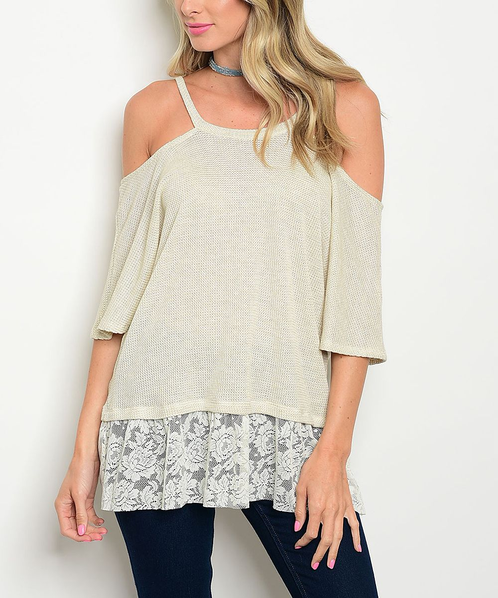 Oatmeal Lace-Trim Thermal Open-Shoulder Tee
