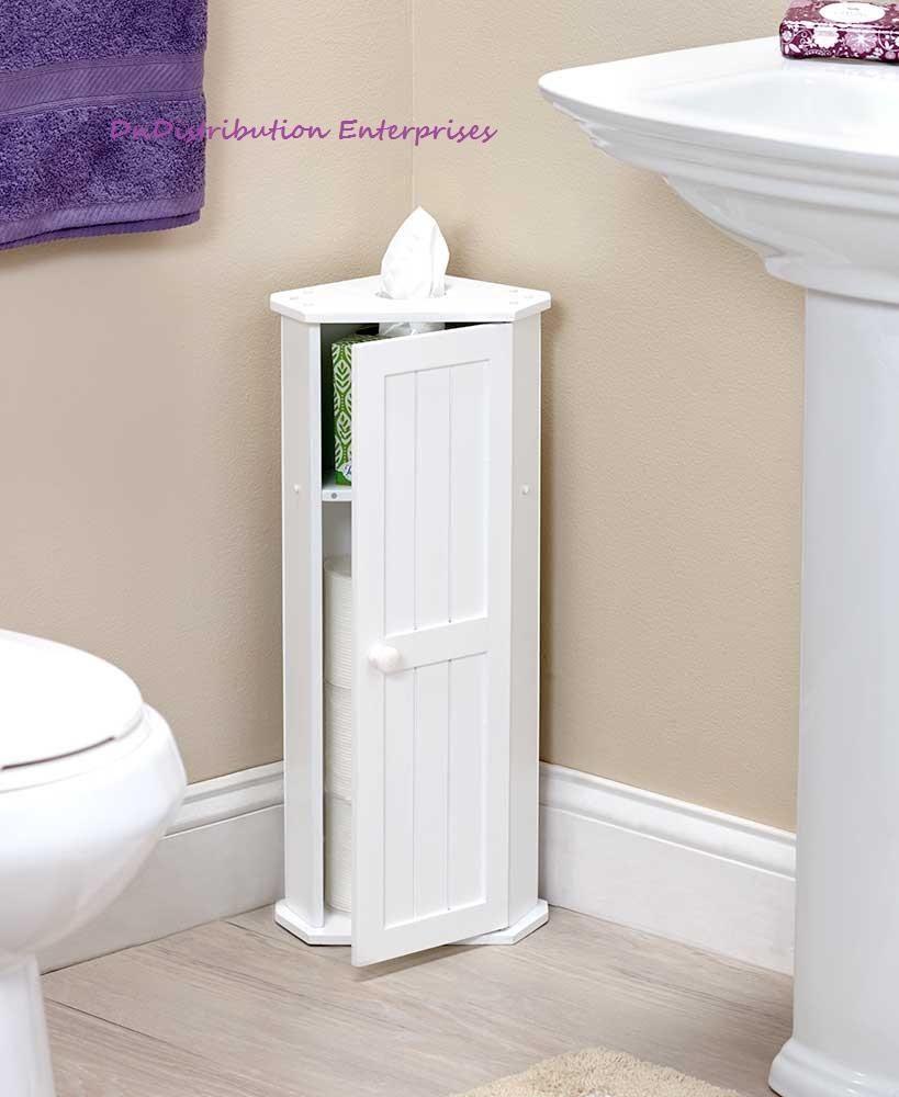 Toilet Paper Corner Storage Cabinet Space Saving Magnetic Door