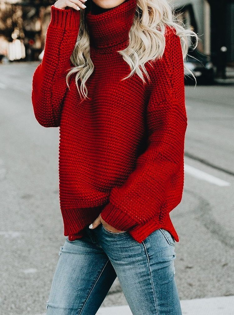 cute blue sweater cute red cowl neck sweater with blue jeans pullover 3346