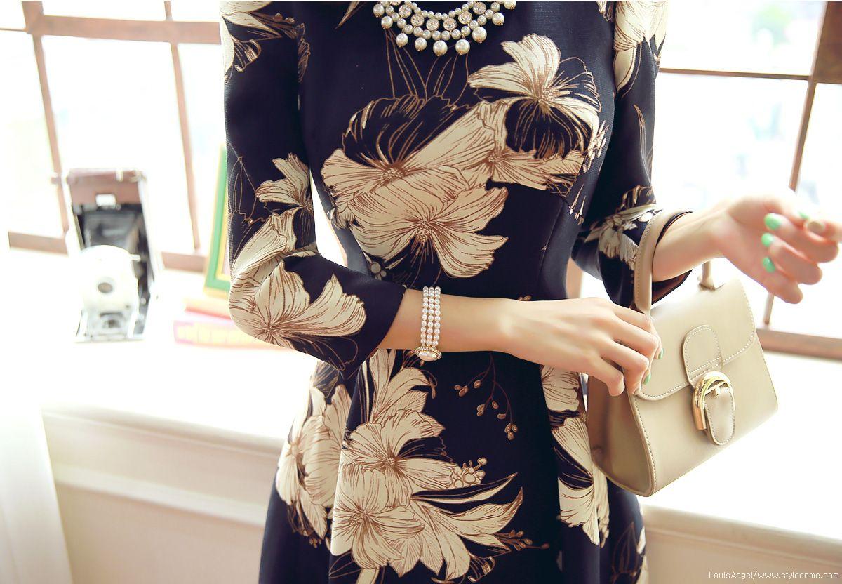 Floral print quarter sleeve flared dress beautiful dresses