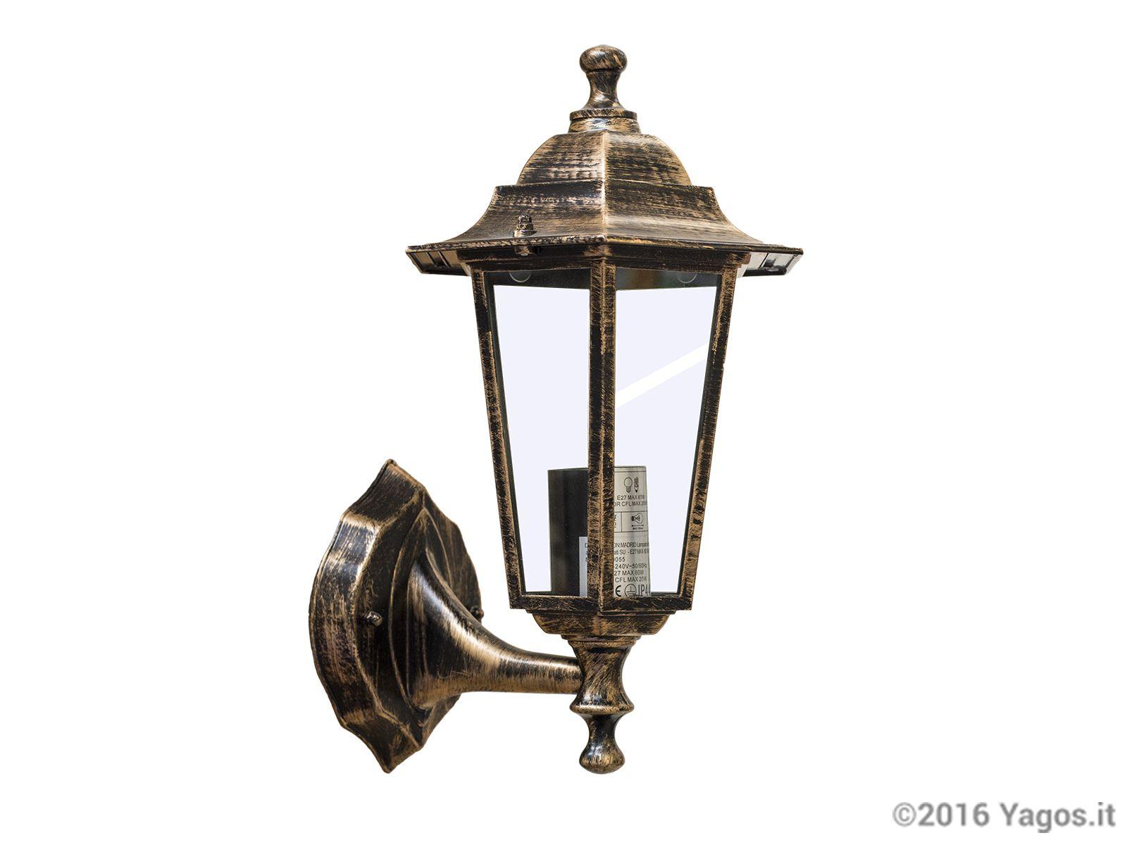 Lampada applique da esterno madrid rame illuminazione giardino e