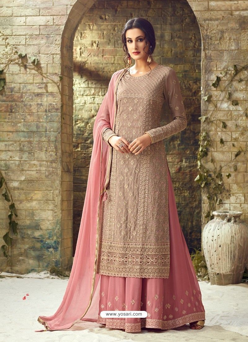 f92727e6bb Dusty Pink Georgette Stone Embroidered Designer Palazzo Suit ...