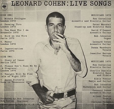 I love this Photo of Leonard Cohen. It was also used for the back cover of one of his poetry books. I photocopied it off of the book and put it on the front of one of my school binders. Everyone asked me who the `creep` was. -DL
