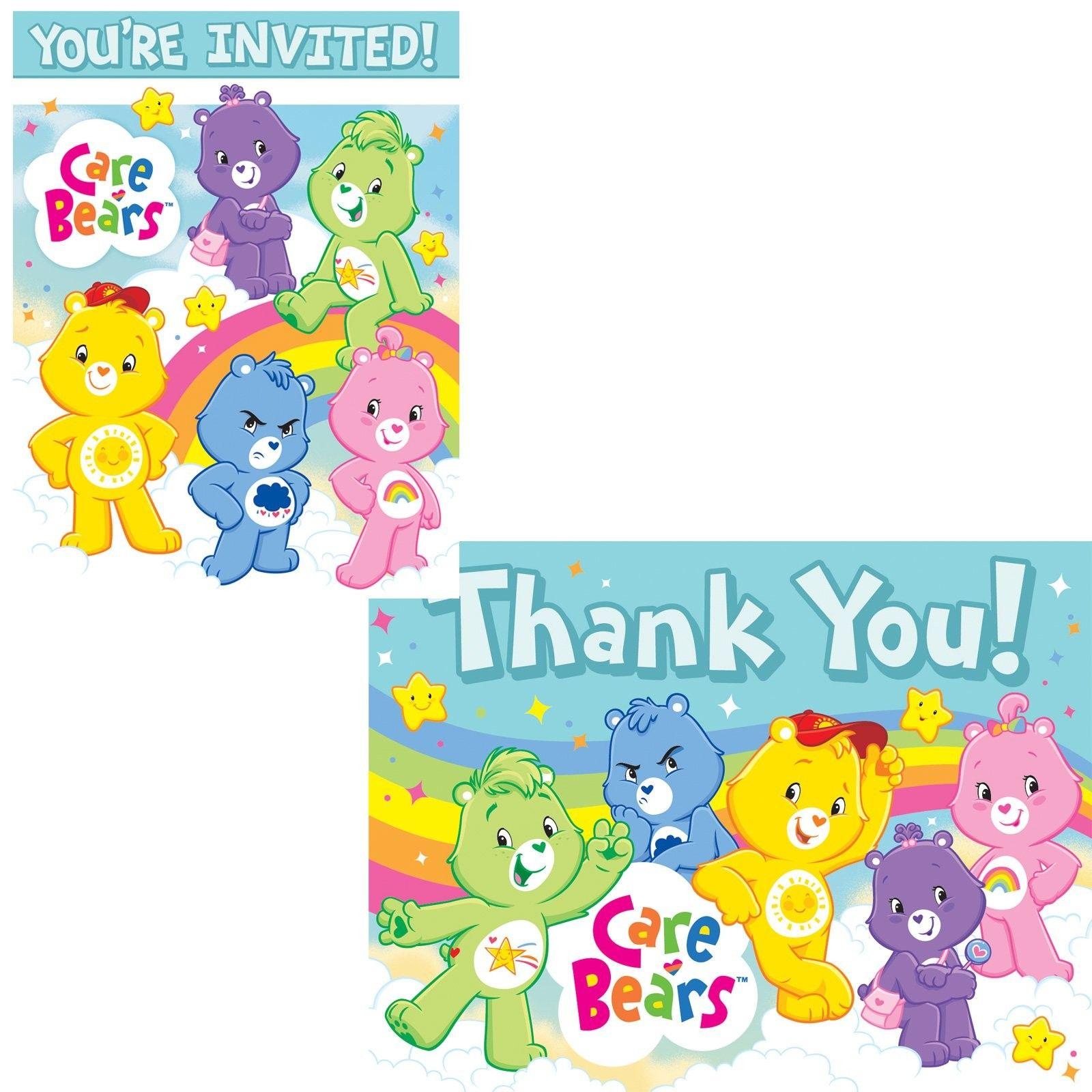 Care bears happy days invitationsthank you postcards includes 8 care bears happy days invitationsthank you postcards party accessory monicamarmolfo Choice Image