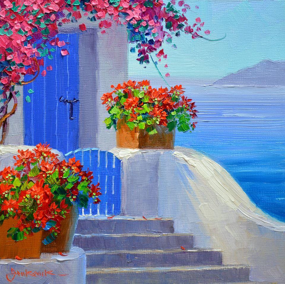 Santorini Paintings On Wood
