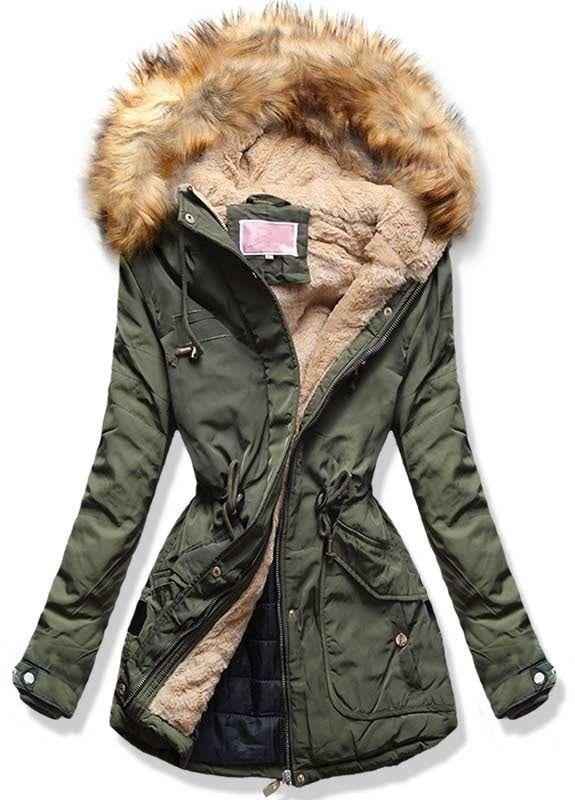 Dámska zimná bunda s kapucňou W123 khaki  be483fa3511