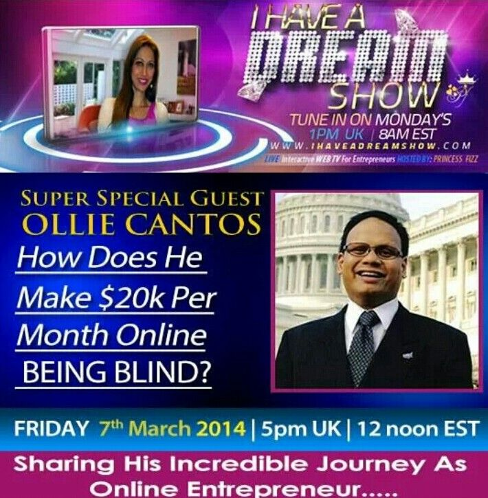 Count down timer on for super special I Have A Dream Show TOMORROW!   My guest is the one and only absolutely incredible Ollie Cantos  Ollie has a very inspiring story of how he has been BLIND since birth. He will be taking us through his LIFE journey and as online entrepreneur.  Feel sorry that he is blind? Don't even think about doing that!! EPIC story with a twist. Cannot be missed!  Tune in TOMORROW at   http://ihaveadreamshow.com  5 pm UK, 12 noon  >>>>>>>>>>>>>>>>>  En members use…