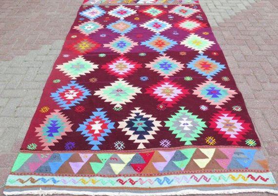 "Rug, kilim rug, 101.5"" x 67.5"" rug, burgundy area rug, Kilim rug, Vintage Turkish rug, kelim rug, vintage bohemian rug, eccentric rug, rugs"