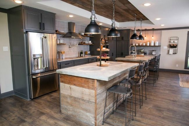 Fixer upper season 3 a fixer upper for a most eligible bachelor seeing double the expanded kitchen features twin islands with concrete countertops and