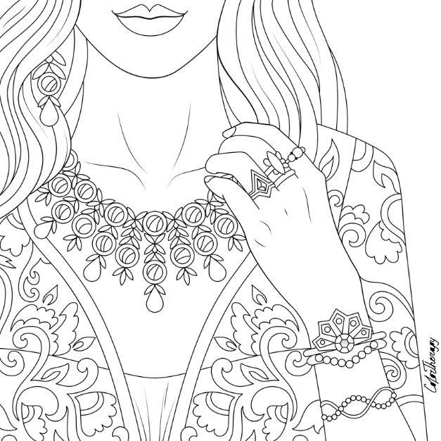 Beautiful Dress And Jewellery To Color On Colortherapy App Dibujos Para Colorear Dibujos Arte