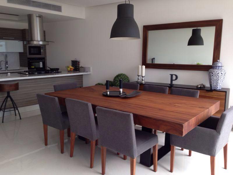 Parota wood dining table comedores pinterest for Muebles modernos para cocina comedor