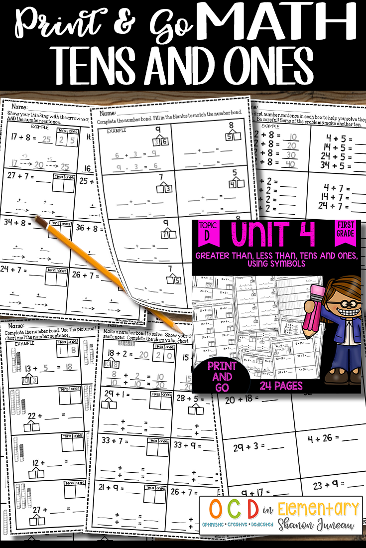 These no prep 1st grade math worksheets cover greater than less are you in need of some print and go math sheets that cover greater than less than tens and ones and using symbols to show greater than or less than buycottarizona Choice Image