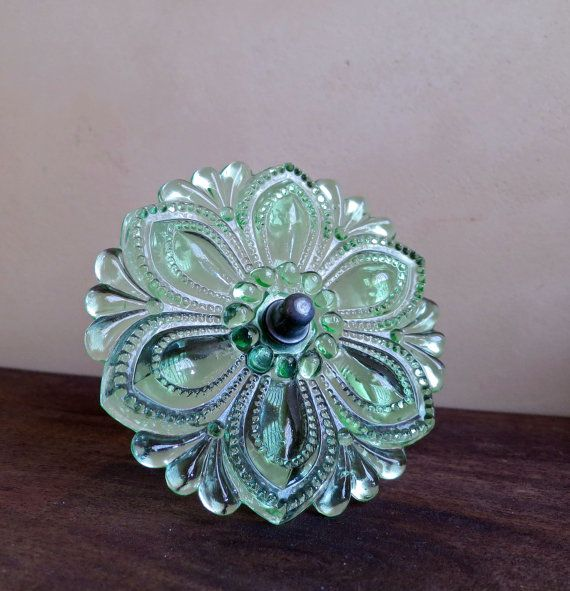 RESERVED Green Glass Curtain Tie Back, Pressed Glass