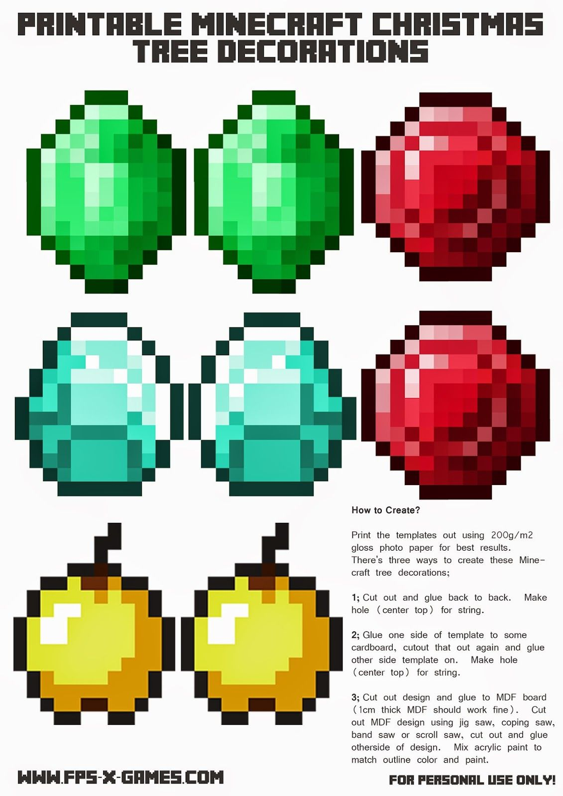 Christmas Minecraft Decorations.Printable Minecraft Christmas Tree Decoration Template