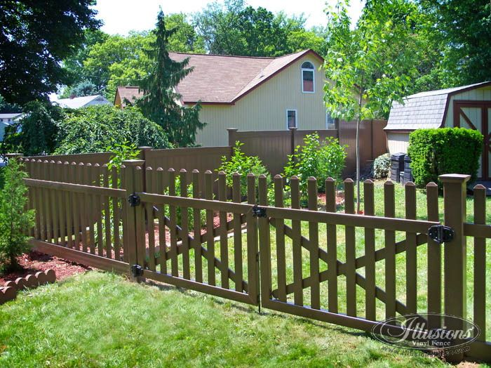 brown vinyl fence panels. Vinyl Fence Colors   VDG350-54TR Color Contemporary Picket Drive Gate In Brown Panels