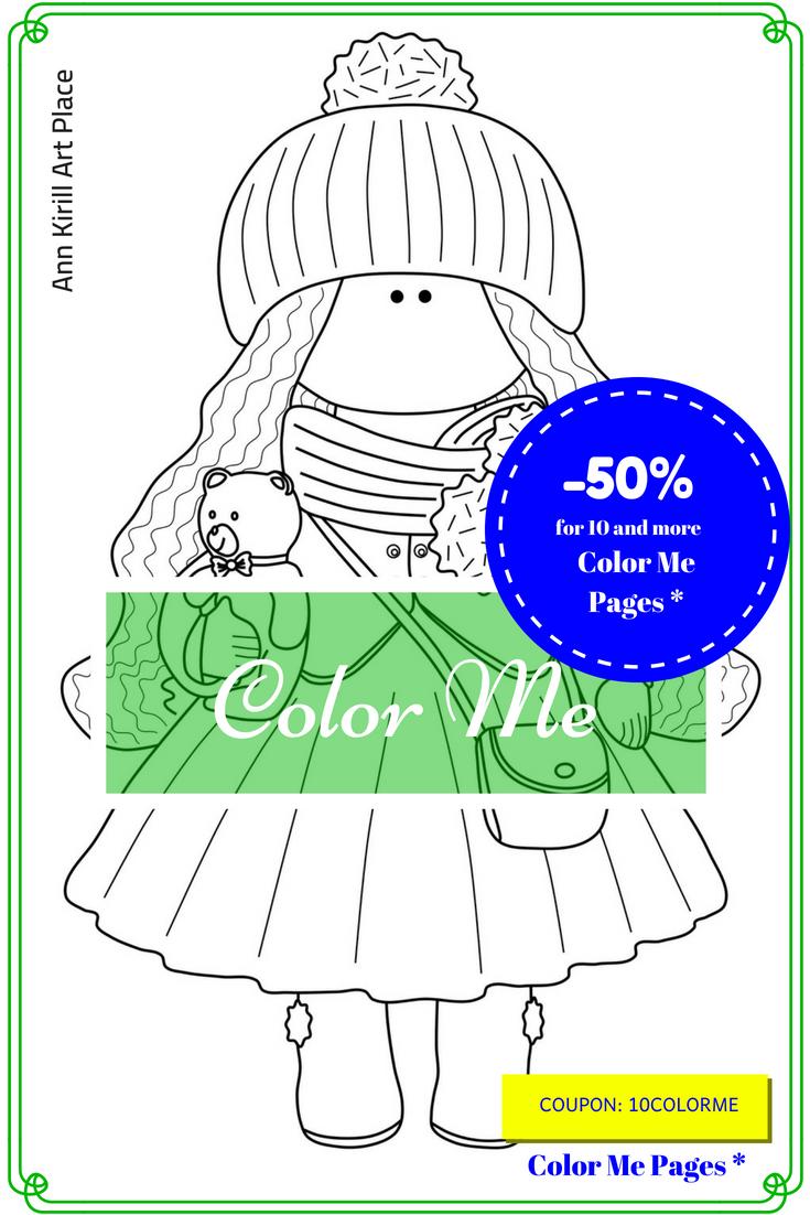 Me, Kids Gift DIY, Girl Digital Stamp, Coloring Art Doll, Dolls ...