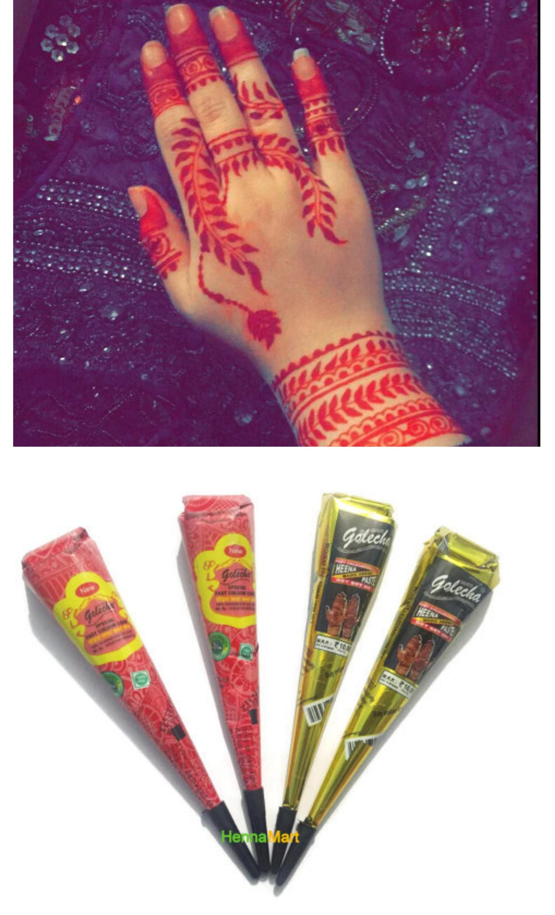 d621c3d0e1886 Colored Natural Henna Herbal Instant Cones Temporary Tattoo Body Art Design  Mehandi Color Ink Kit DIY