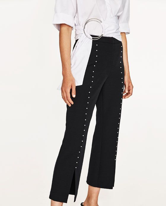 PEARL STUDDED TROUSERS WITH SLITS - NEW IN
