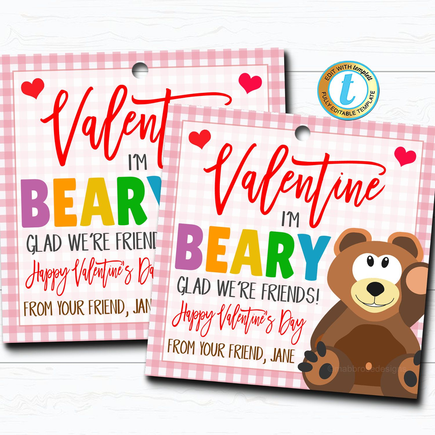 Valentine Bear Tags I M Beary Glad We Re Friends Etsy Valentine S Cards For Kids Bear Valentines Valentines Gift Tags