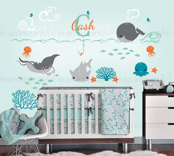 Ocean Wall Decals With Custom Name Custom Baby By InAnInstantArt