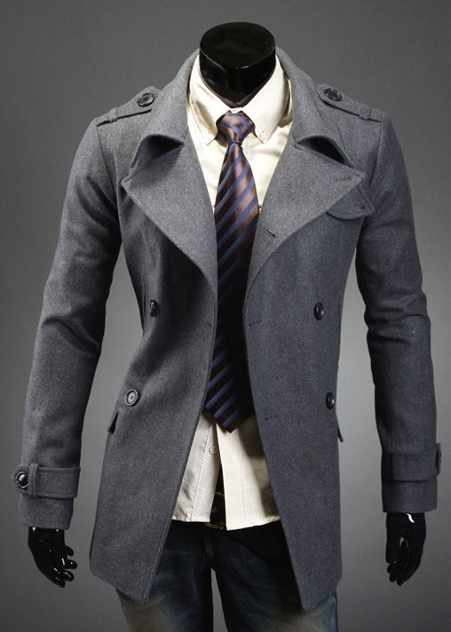 Korean Style Turndown Collar Double-Breasted Long Sleeves Woolen ...