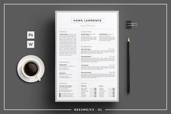 Resume CV - HL by tnsdesign on @Graphicsauthor Resume Design