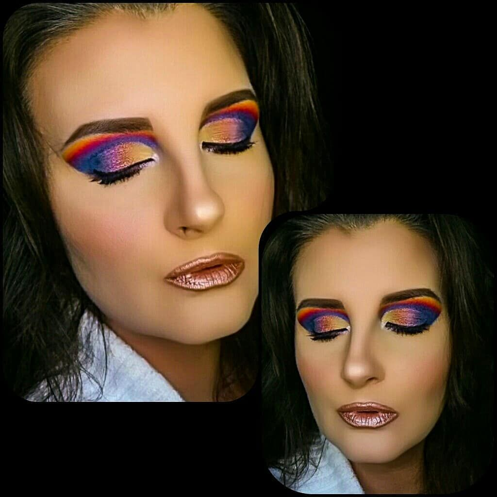 """Rainbow Brite """"And when it rains on your parade look up rather than down. Without the rain there will be no rainbow."""" - Gilbert K. Chesterton  Happy Sunday angels! Here is one final look at this vibrant eye look paired with the beautiful Amore Matte Metallic Lip Creme in the shade Chromatic Addict by @milanicosmetics. Please take a moment to leave me a message down below letting me know all your thoughts on this look. I hope you all have a wonderful day and remember to not let unpleasant or unex"""