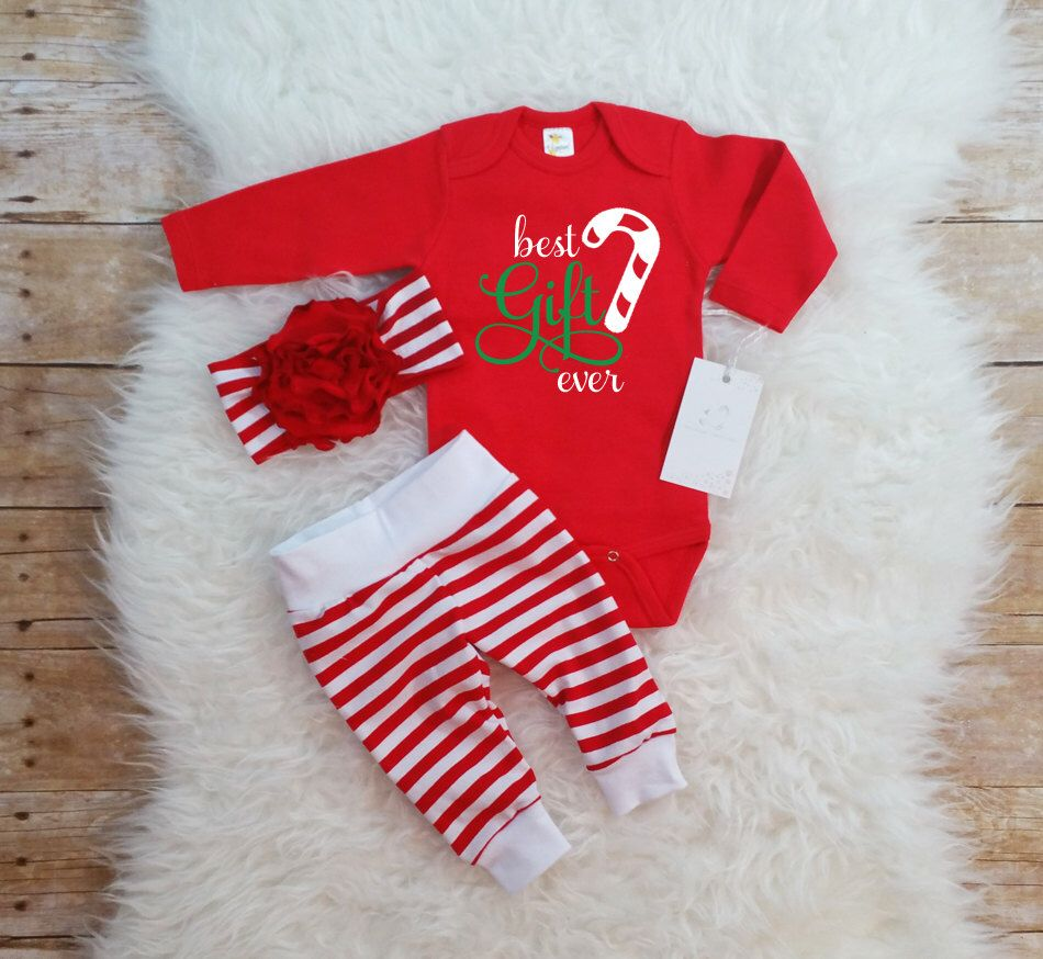 Best gift ever baby girl christmas outfit newborn christmas outfit candy cane outfit christmas gift flower