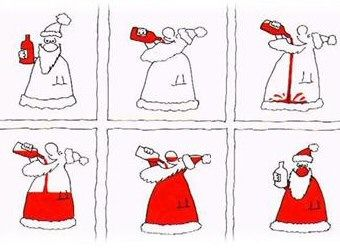 Santa Drinking Wine Clipart