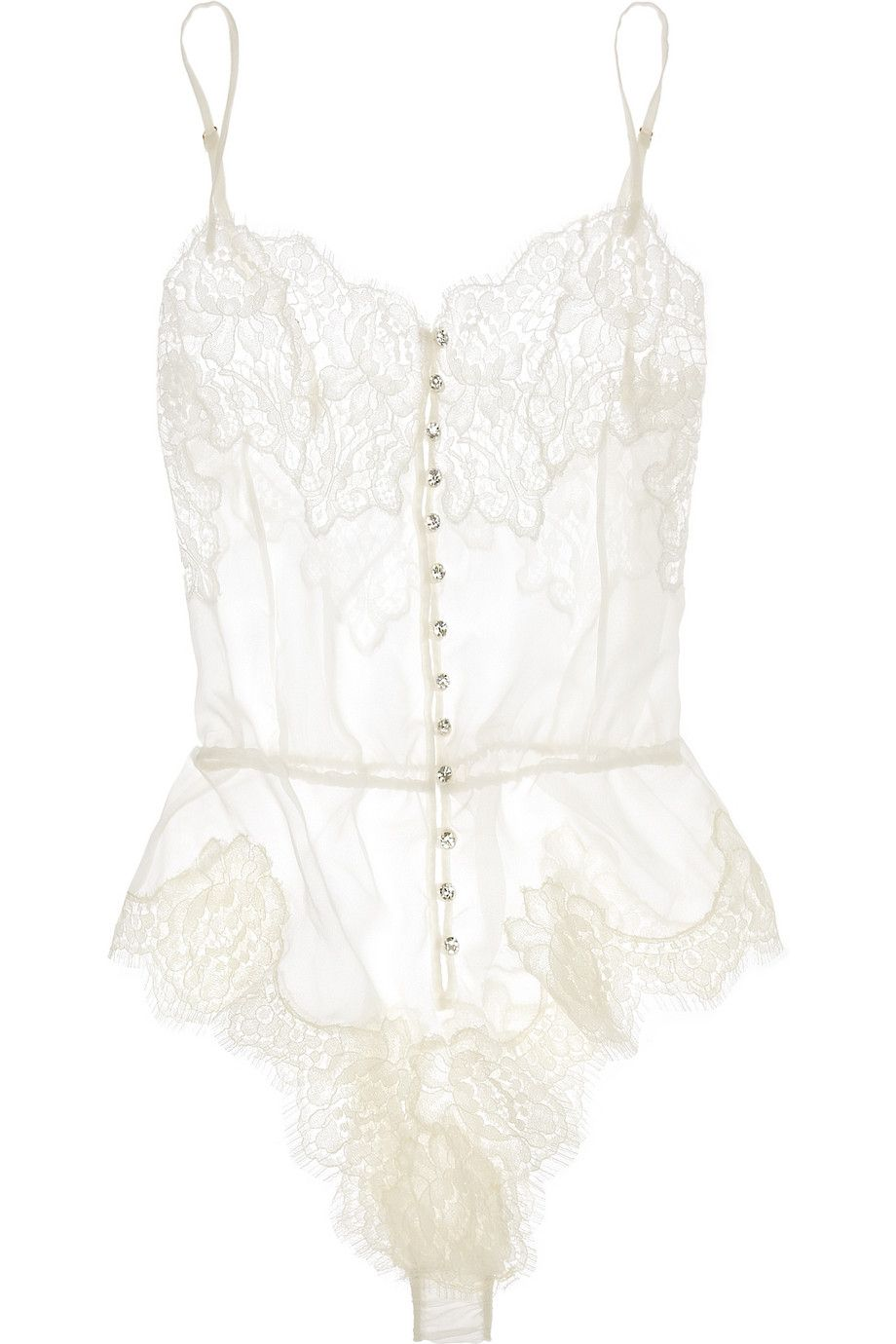 6e70ce9eeef5 Rosamosario | Buongiorno Dolcezza silk-georgette and Chantilly lace bodysuit