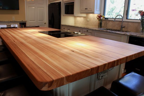 Hickory Butcher Block Kitchen Island Top Solid Wood Countertops Modern Kitchen Furniture Hickory Kitchen