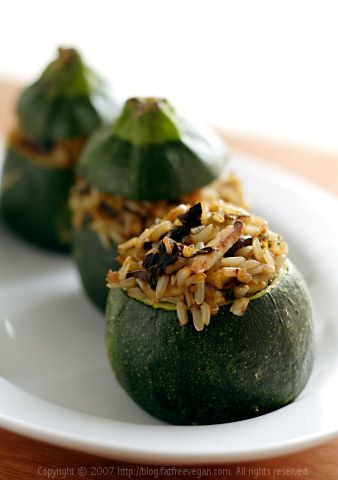 Eight-Ball Zucchini Stuffed with Rice, Basil, and Sun-dried Tomatoes