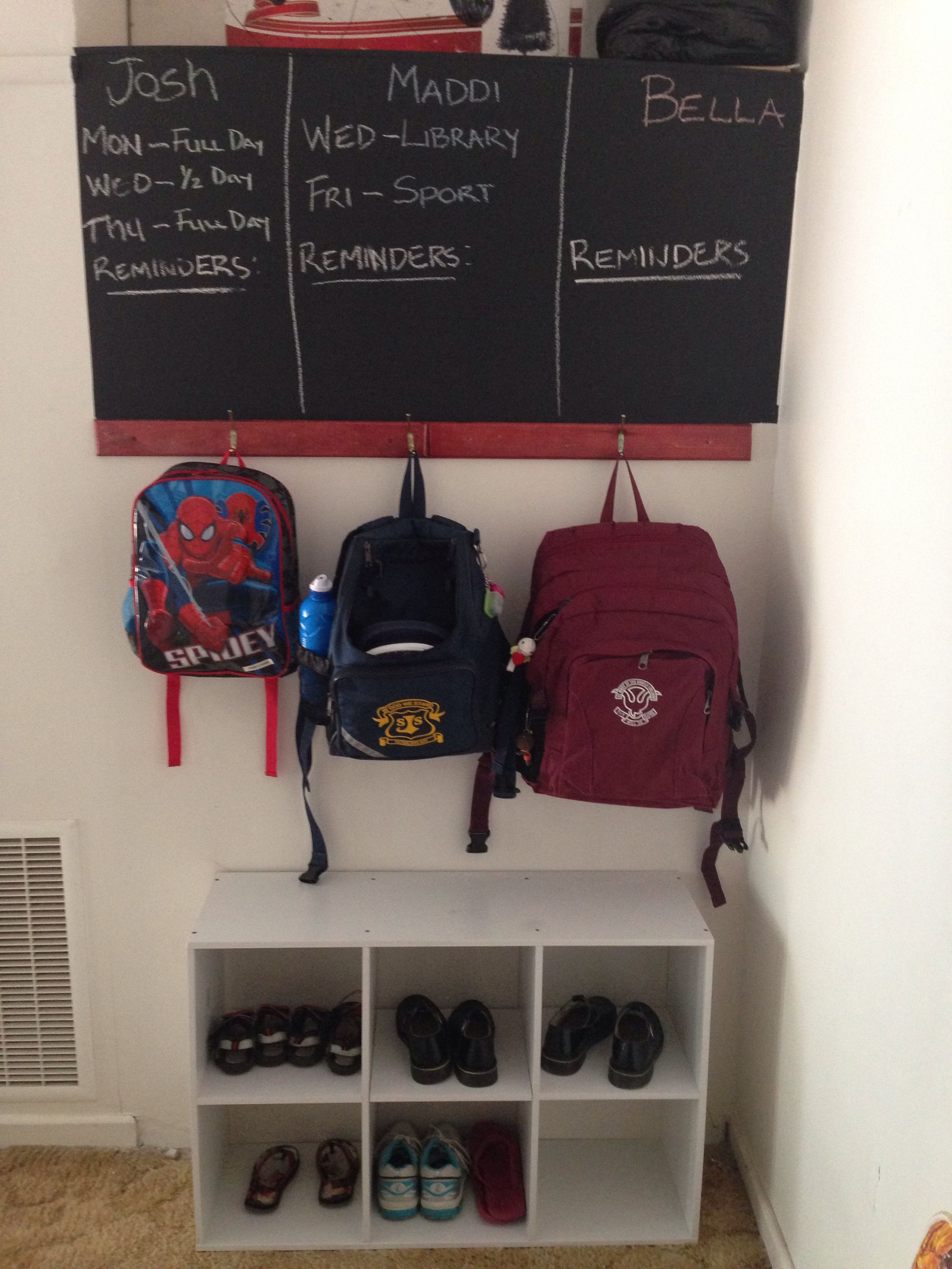 Organisation for a school zone. A place for the school bag, shoes and what is happening for that school week.